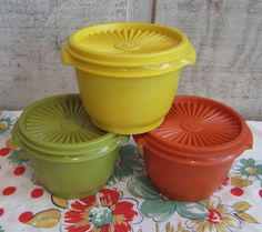 Oh please.....nerver ever again these colors!!!!!  Tupperware Set. $16.95, via Etsy.