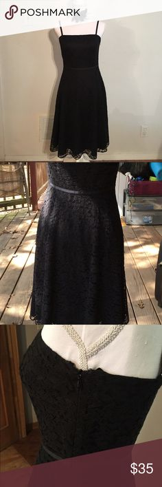 Ann Taylor Little black lace evening dress this is an Ann Taylor little black lace dress size 2 waist is 26 inches from shoulder down 41 inches mint condition ,lace all over, zipper on the side , Ann Taylor Dresses Midi