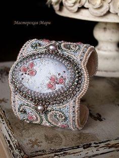 """Beaded bracelet  / Купить """"...Старинный сад воспоминаний..."""" Широкий браслет. Ручная вышивка. - браслет"""