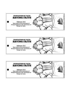 Hebrews 11 Saving Faith Bible Bookmarks: A defining Biblical passage on faith, Hebrews 11 deserves to be read again and again. Inspire your kids to open their Bibles at home with these Hebrews 11 Saving Faith activity printouts.