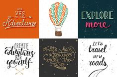 Set of adventure and travel hand drawn typography premium vector Adobe Illustrator, Italy Quotes, Passports For Kids, Travel Quotes Tumblr, Let's Create, Journal Stickers, Travel Maps, Typography Logo, Travel Pictures