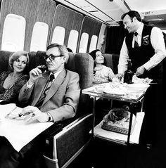 Qantas Boeing 747-238B VH-EBA. - the meal service to First Class passengers, circa 1977
