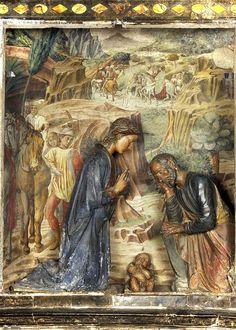Benozzo Gozzoli - La cavalcata dei Magi - affresco in nicchia - fa da sfondo ad una Natività in terracotta attribuito a Andrea della Robbia - 1473 - Volterra (PI) - Cattedrale di Santa Maria Assunta, Oratorio della Vergine