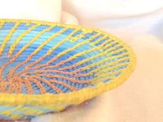Hand Coiled Sky Blues And Yellow Bailing by HeartsFireCreations