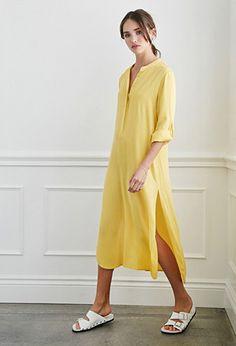 Longline Henley Shirt Dress | Forever 21 - 2000132383