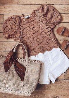 Crochet T Shirts, Crochet Blouse, Crochet Clothes, Knit Crochet, Macrame Dress, Belly Shirts, Crochet Summer Tops, Crochet Woman, Crochet Fashion