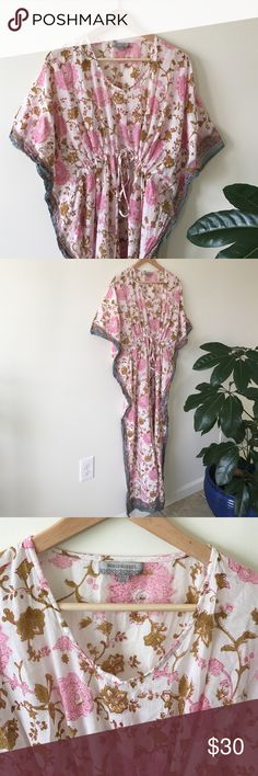 Free Size Cotton Kaftan Swim Cover up Maternity Beautiful pink and ochre free size flowing kaftan. 100% cotton. Perfect for floating around the house like a goddess or as a swim cover up at the beach. Or for a super comfy maternity dress. Only worn once! From World Market Free People Dresses Maxi