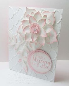 Stampin' Up! ... handcrafted card ... white and soft pink ... layered and shaped flower with soft pink sponged edges ... wonderful texture ...