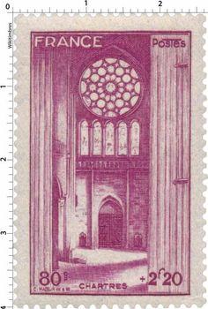 France Stamp - Cathédrale de Chartres (1944)