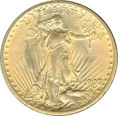 USA: 1908, 20 Dollar Gold, Liberty, 31,1 g fein, ss    Anbieter  Schwanke GmbH    Saalauktion  Ausruf:  1000.00EUR