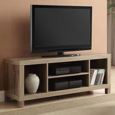 Tv Stand Table For Flat Screen Living Room Furniture With Shelves Wood Weathered #Generic