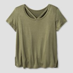 Girls' Short Sleeve Bar Front T-Shirt Solid Art Class - Olive (Green) XS, Girl's