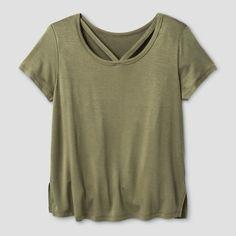 Girls' Short Sleeve Bar Front T-Shirt Solid Art Class - Olive (Green) S