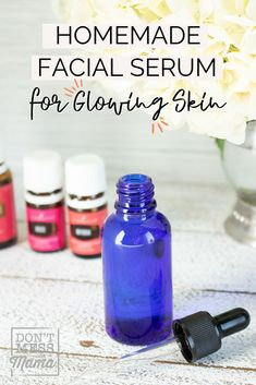 This easy face serum with essential oils is perfect for glowing skin! DIY Face serum will save you money and avoid any toxic chemicals on your skin. #faceserumessentialoils #faceserumDIY #facialserumDIY Homemade Facials, Homemade Beauty, Young Living Face Serum, Face Serum Diy, Diy Facial Serum, Essential Oils For Face, Living Oils, Diy Skin Care, Glowing Skin