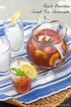 Peach Bourbon Sweet Tea Lemonade: Bourbon is the perfect spirit here. It's vanilla undertones will soak into the charred peaches. And the slight smoke the peaches pick up will echo the mustiness of the black tea. Beautiful flavors!