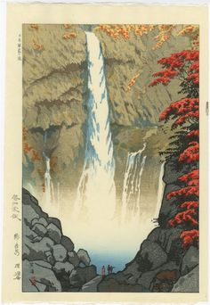 Japanese woodblock print of Kegon Falls, Nikko by Kasamatsu Shiro