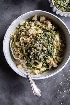 "Quick Cauliflower ""Risotto"" with Asparagus + Cilantro-Basil Hemp Seed Pesto | http://halfbakedharvest.com /hbharvest/"