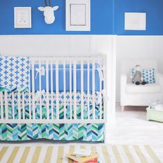 Designer crib bedding Blue Modern Uptown in Blue Baby Bedding Set custom made in the USA. Ships free in weeks. Choose matching window drapes to complete your nursery decor Modern Baby Bedding, Modern Crib, Baby Crib Bedding Sets, Blue Bedding, Blue Crib, Crib Blanket, Baby Boy Nurseries, Cribs, Electric Blue