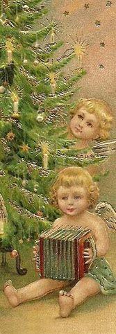 Angela Magnoni hat eine Sammlung mit alten italienischen Weihnachtskarten aller Couleur im Internet veröffentlicht. Hier ein paar Engel am Weihnahtsbaum - und einer spielt Akkordeon. Stichworte: #Accoridon #World #Illustration #Vintage #Card #Christmas #Angel