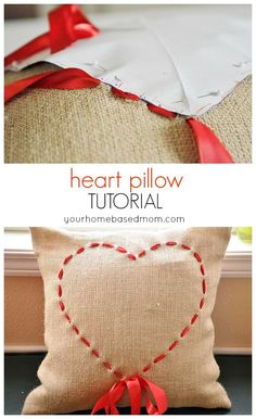 DIY Heart Pillow Tutorial - you are going to love the back of it!  Perfect for Valentine's Day Home Decor