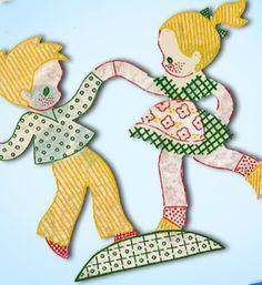 1950s Full Color Vogart Kids in Plaid Uncut Hot Iron No Sew Transfer Darlin | eBay
