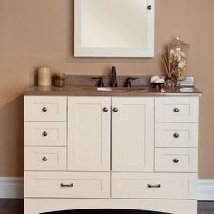 St. Paul Manchester 48 In. W X 34 In. H X 22 In. D Bath Vanity Cabinet Only  In Vanilla MBD4821COM V   The Home Depot. Salles De Bains ...
