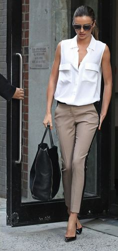 White sleeveless top & nude pants with black side panels + pointed-toe pumps = casual work chic
