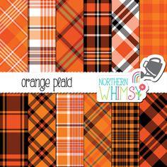 Orange Plaid Digital Paper - Halloween Plaid - retro 70's tartan scrapbook paper - orange and black seamless patterns - commercial use OK