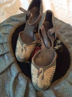 Antique,Art Deco Swan Petit Point Shoes by PetitPointsInteriors...