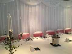 Top table with star cloth back ground, The Red Lion at Whittlesford Bridge - Inspiration Gallery Wedding Venue Image