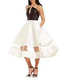 Kay Unger Halter Neck Color Blocked Midi Dress #Dillards