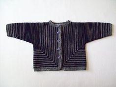 Babytrøje med en anderledes konstruktion. Den strikkes i 2 stykker helt i retstrikning. Både pige- og drengemodel. Strikkes i 100 % merinould eller strømpegarn på pinde 3. Læs mere ...