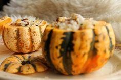 Courge patidou farcie au riz, lentilles et cranberries {vegan} - aime & mange