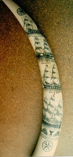Full sized Elephant Ivory Tusk over 24 inches long with Whaling Ship motif. By David Pudelwitts-St. Albans 1982