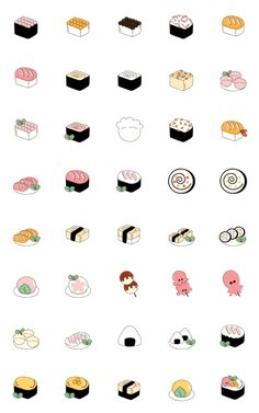 There are many cute food in this shop, they are yummy XD Cartoon Stickers, Emoji Stickers, Cute Stickers, Cute Food Drawings, Colorful Drawings, Easy Doodle Art, Kawaii Doodles, Journal Stickers, Maker