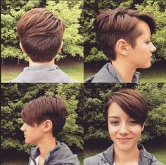 Cute Short Haircut with Side Long Bangs - Thick Hairstyles