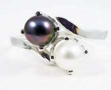 Black and White Double Pearl Sterling Silver Ring