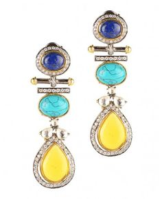 Long Earrings With Blue Lapis And Turquoise Stones By Rohita