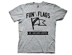 Big Bang Theory Fun with Flags Collegiate Heathered Grey T-Shirt