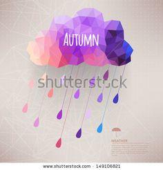 Retro cloud with rain symbol  hipster background made of triangles Retro background with rain drop pattern.Label design. Square composition ...