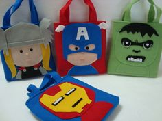 Cute library book bags for boys. Felt Diy, Felt Crafts, Diy And Crafts, Crafts For Kids, Arts And Crafts, Sewing Crafts, Sewing Projects, Candy Bags, Superhero Party
