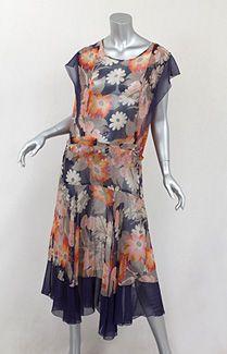 Floral chiffon dress, c.1930.