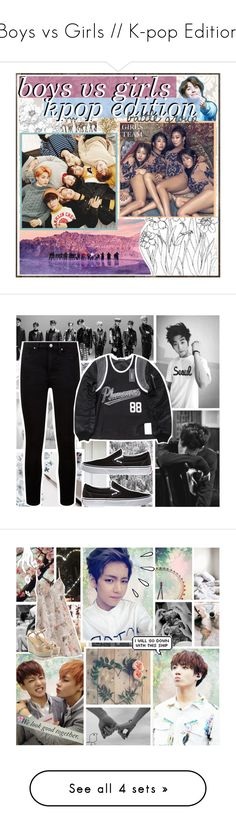 """""""Boys vs Girls // K-pop Edition"""" by lola-twfanmily ❤ liked on Polyvore featuring art, kpopbvg, Magdalena, Tine K Home, David Tutera, GET LOST, Paige Denim, Vans, Meggie and Old Navy"""