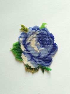Beadwork Rose Brooch. Blue rose. Flower jewelry.Rose par nepinka