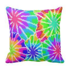 Tie Dye Rainbow Pillow for teen girls bedroom and children's room decor #decampstudios