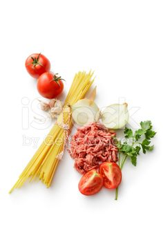 Italian Ingredients: Spaghetti, Minced Meat, Onion, Tomato, Garlic, and Parsley royalty-free stock photo