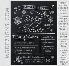Printable Chalkboard Snowflakes Winter Bridal Shower