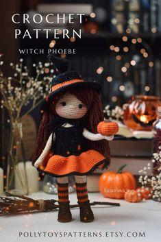 Halloween Crochet Patterns, Crochet Doll Pattern, Crochet Patterns Amigurumi, Amigurumi Doll, Crochet Dolls, Crochet Deer, Cute Crochet, Adornos Halloween, Holiday Crochet