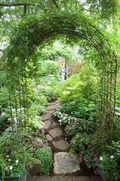 I love this garden path. There is just one tile at the beginning with the rest being natural rock. If it had all been either the beauty of both may have been lost