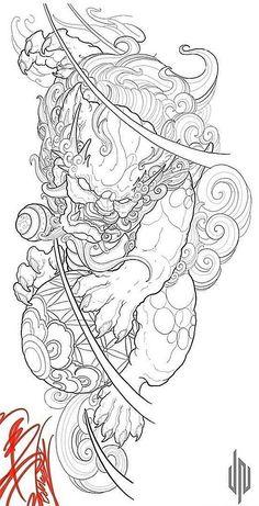 Japanese Tattoo Symbols, Japanese Tattoo Art, Japanese Tattoo Designs, Japanese Sleeve Tattoos, Foo Dog Tattoo Design, Japan Tattoo Design, Shiva Tattoo Design, Owl Tattoo Drawings, Tattoo Sketches
